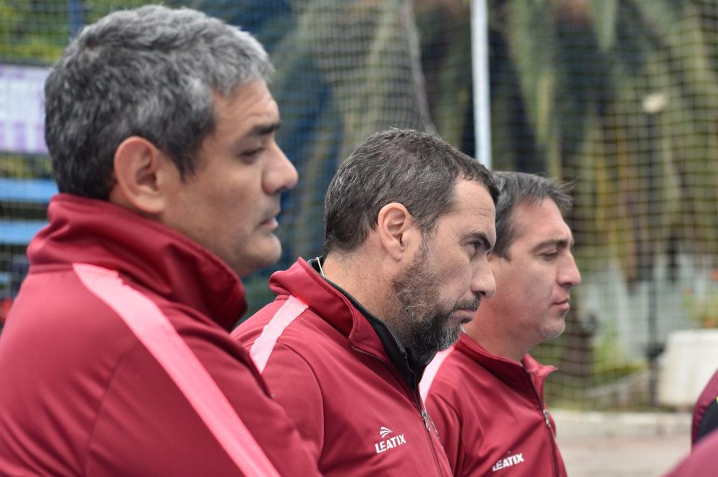 Corvalán en el medio al lado de Rodrigo Salinas y Nicolás Rossi.