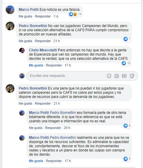 El ida y vuelta de los jugadores con Bonnettini a través de comentarios en Facebbok.